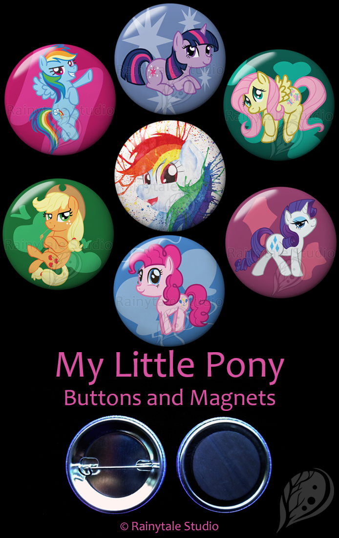 7 My Little Pony Buttons or Magnets picturing Twilight Sparkle, Rarity, Pinkie Pie, Apple Jack, Fluttershy, Rainbow Dash, and Rainbow Splash.