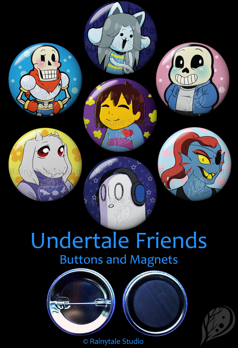 7 Undertale Buttons or Magnets picturing Frisk, Papyrus, Sans, Toriel, Undyne, Napstablook, and Temmie.