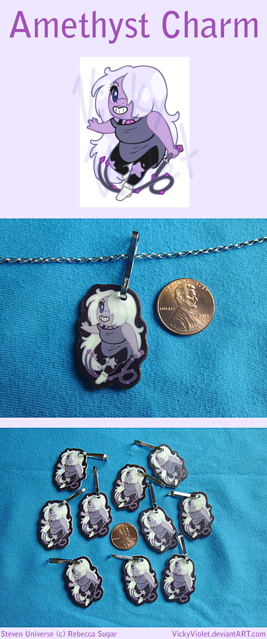 Shrinky Dink Charm with a chibi of Amethyst from Steven Universe.