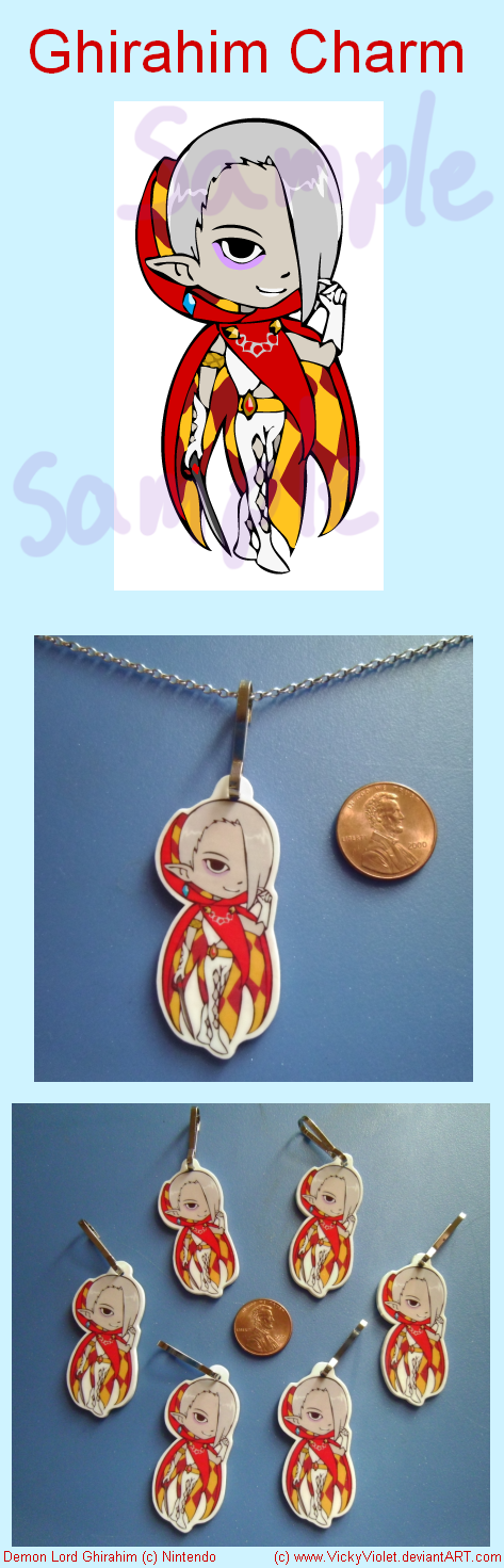 Shrinky Dink Charm with a chibi of Ghirahim from Zelda Skyward Sword.