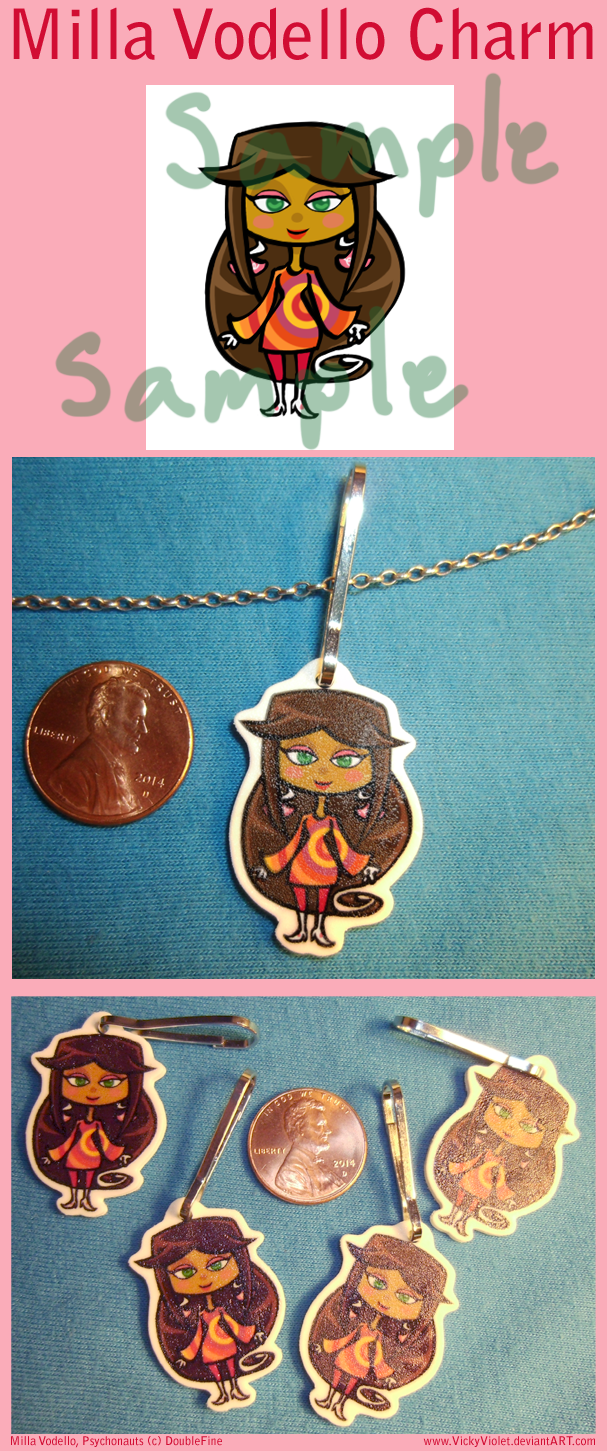 Shrinky Dink Charm with a chibi of Milla Vodello from Psychonauts.