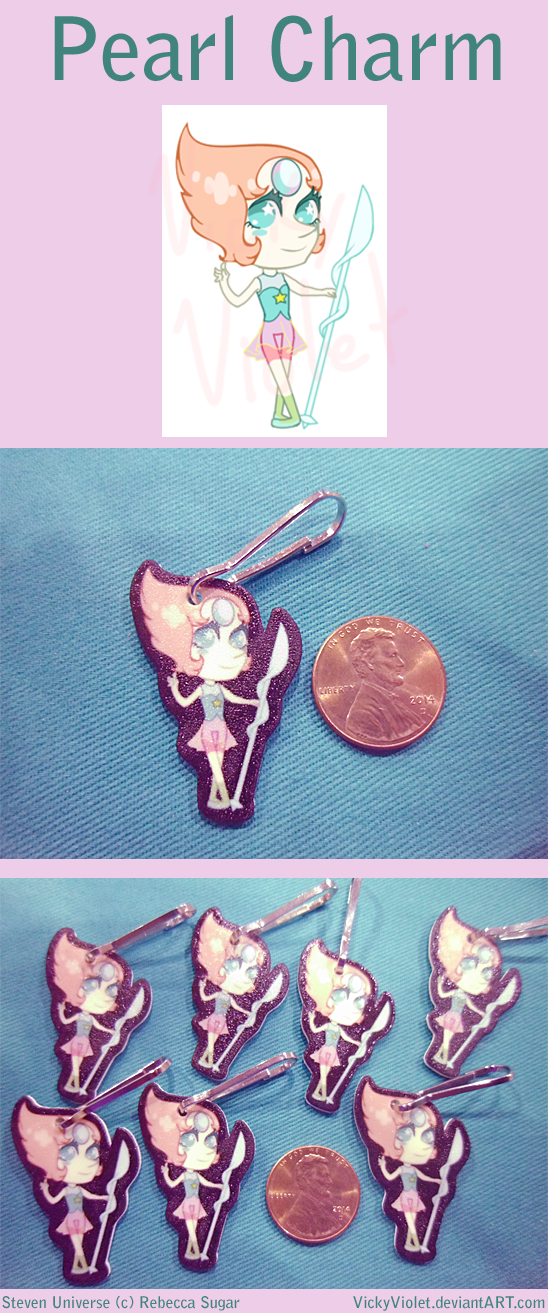 Shrinky Dink Charm with a chibi of Pearl from Steven Universe.
