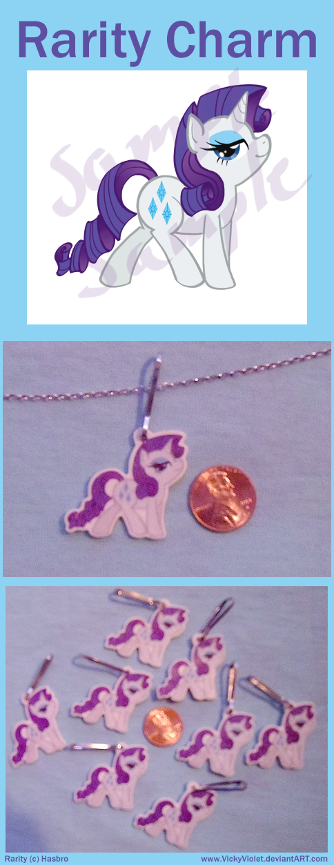 Shrinky Dink Charm with a chibi of Rarity from My Little Pony.