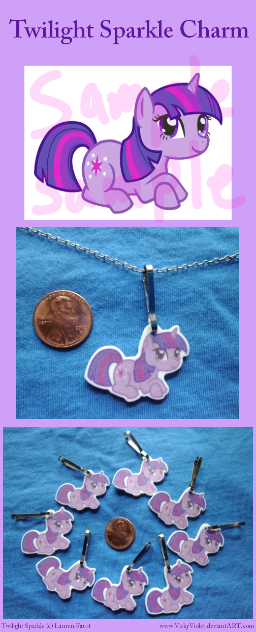 Shrinky Dink Charm with a chibi of Twilight Sparkle from My Little Pony.